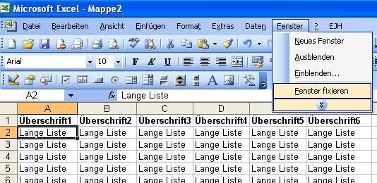 Excel formeln vba programmierung udf tipps tricks for Xls fenster fixieren
